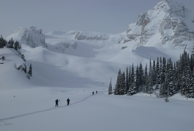 Ski Touring the Grindl Glacier at Mistaya Lodge.