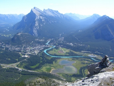 Mt Rundle and Banff town site, Escargo Corner, Mt Norquay