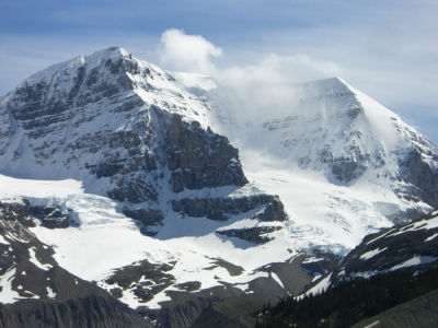 Guided alpine climbing on Mt Andromeda in the Columbia ice field Banff Park