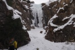 Guinnus Gully, ice climbs in Field BC